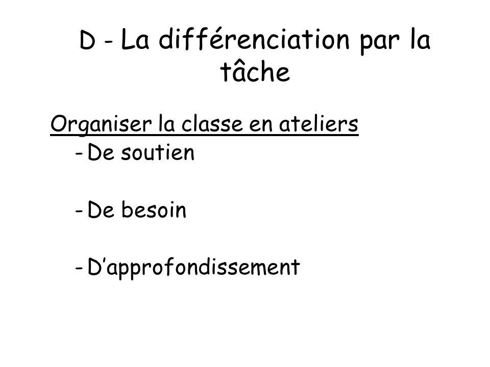 D - La différenciation par la tâche Organiser la classe en ateliers -De soutien -De besoin -Dapprofondissement