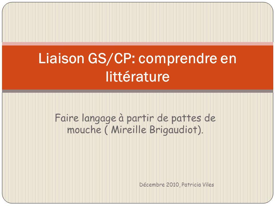Faire langage à partir de pattes de mouche ( Mireille Brigaudiot). Décembre 2010, Patricia Viles Liaison GS/CP: comprendre en littérature