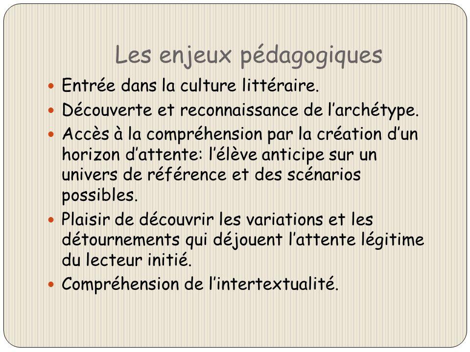 Les enjeux pédagogiques Entrée dans la culture littéraire. Découverte et reconnaissance de larchétype. Accès à la compréhension par la création dun ho