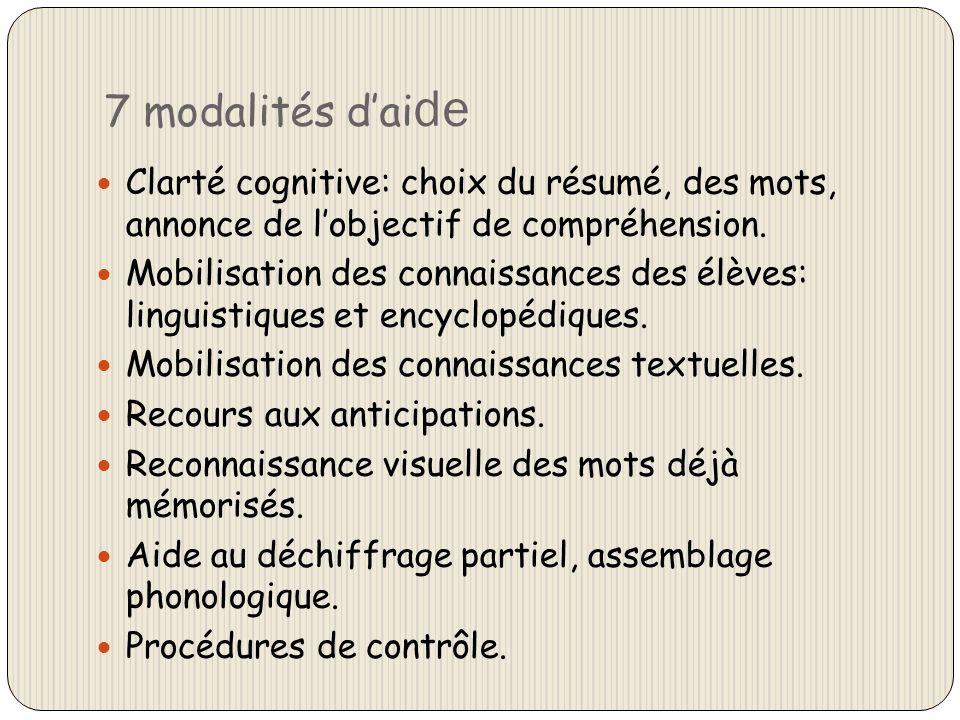 7 modalités dai de Clarté cognitive: choix du résumé, des mots, annonce de lobjectif de compréhension. Mobilisation des connaissances des élèves: ling