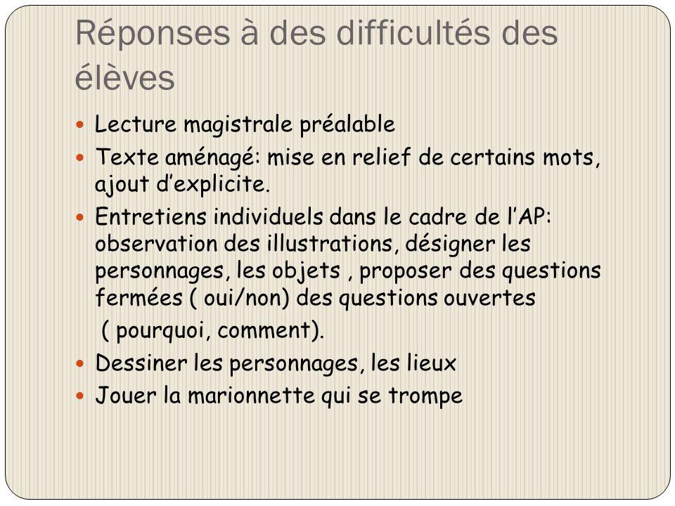 Réponses à des difficultés des élèves Lecture magistrale préalable Texte aménagé: mise en relief de certains mots, ajout dexplicite. Entretiens indivi