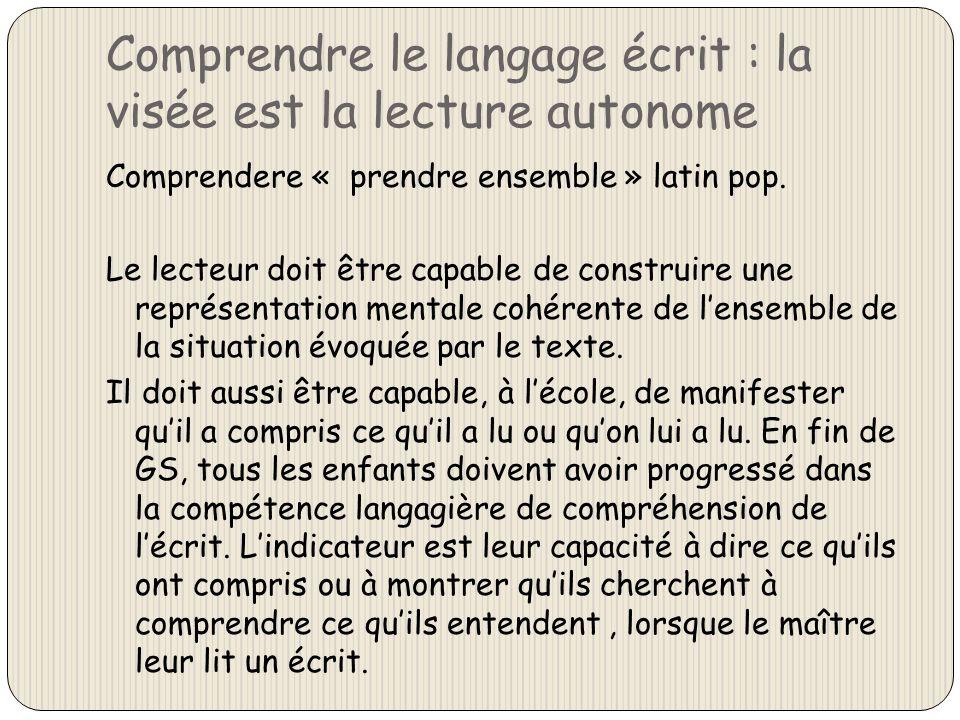 Comprendre le langage écrit : la visée est la lecture autonome Comprendere « prendre ensemble » latin pop. Le lecteur doit être capable de construire