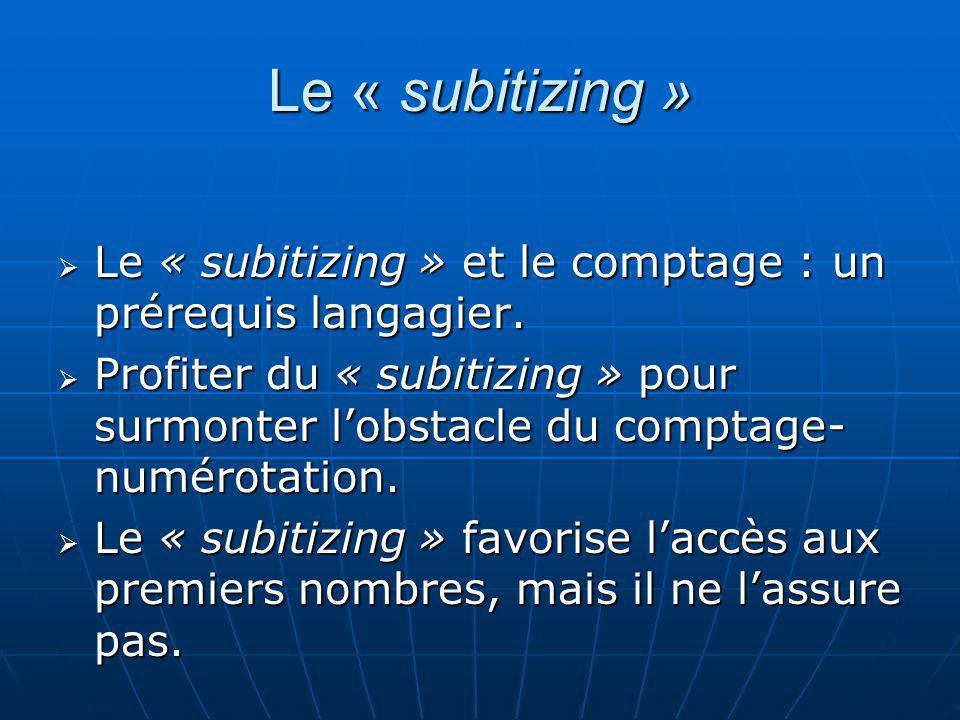 Le « subitizing » Le « subitizing » et le comptage : un prérequis langagier. Le « subitizing » et le comptage : un prérequis langagier. Profiter du «