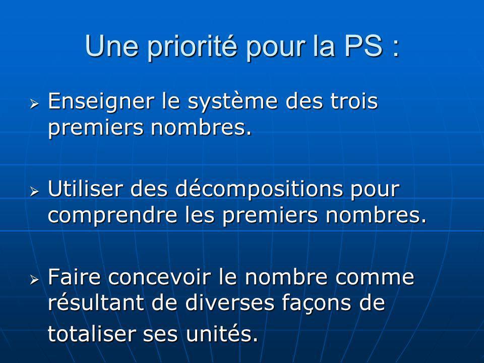 Une priorité pour la PS : Enseigner le système des trois premiers nombres. Enseigner le système des trois premiers nombres. Utiliser des décomposition