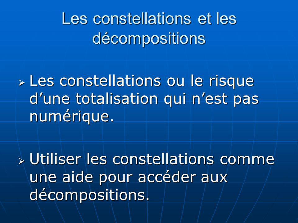 Les constellations et les décompositions Les constellations ou le risque dune totalisation qui nest pas numérique. Les constellations ou le risque dun