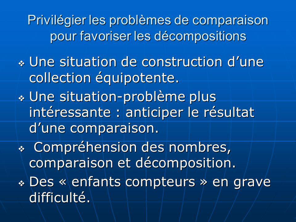 Privilégier les problèmes de comparaison pour favoriser les décompositions Une situation de construction dune collection équipotente. Une situation de