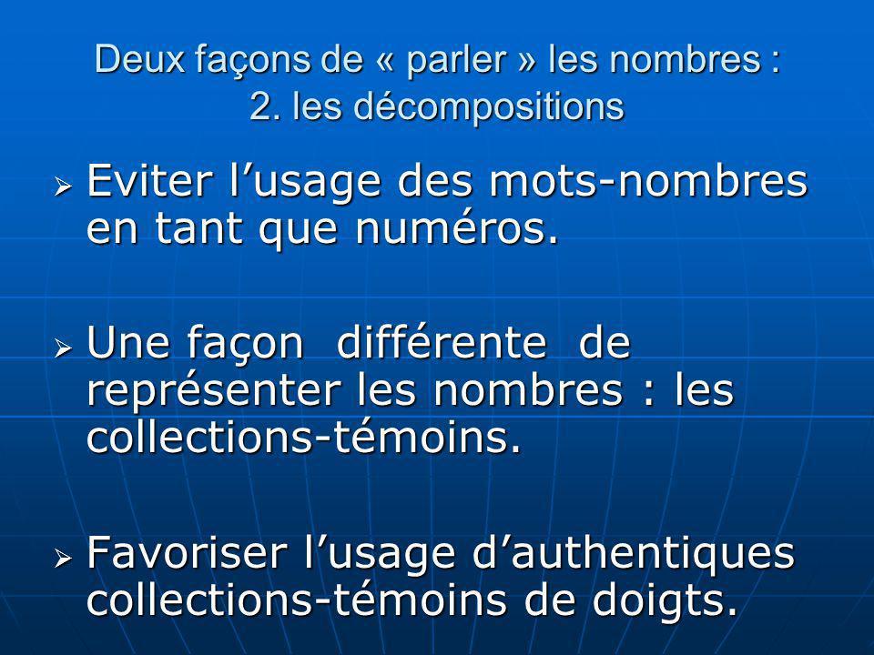Deux façons de « parler » les nombres : 2. les décompositions Eviter lusage des mots-nombres en tant que numéros. Eviter lusage des mots-nombres en ta