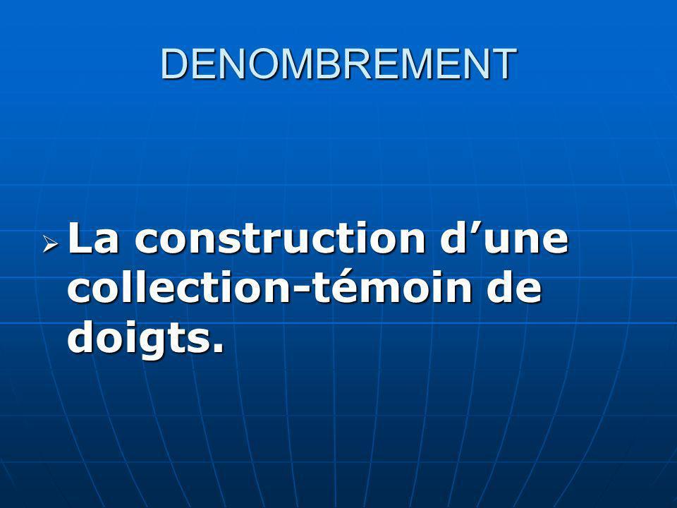 DENOMBREMENT La construction dune collection-témoin de doigts.