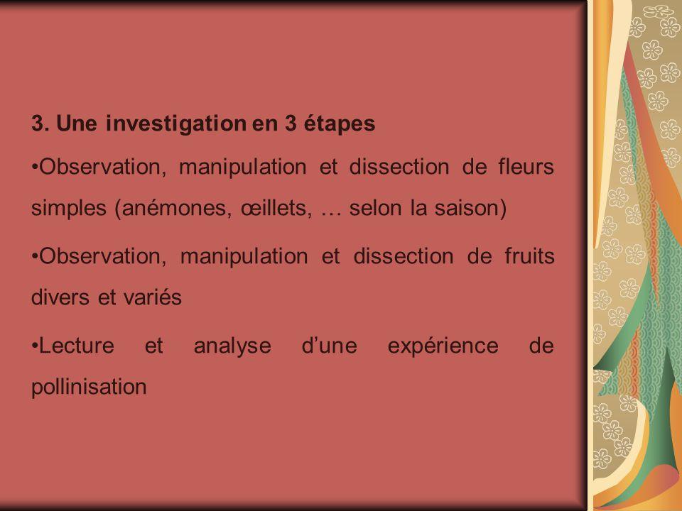 3. Une investigation en 3 étapes Observation, manipulation et dissection de fleurs simples (anémones, œillets, … selon la saison) Observation, manipul