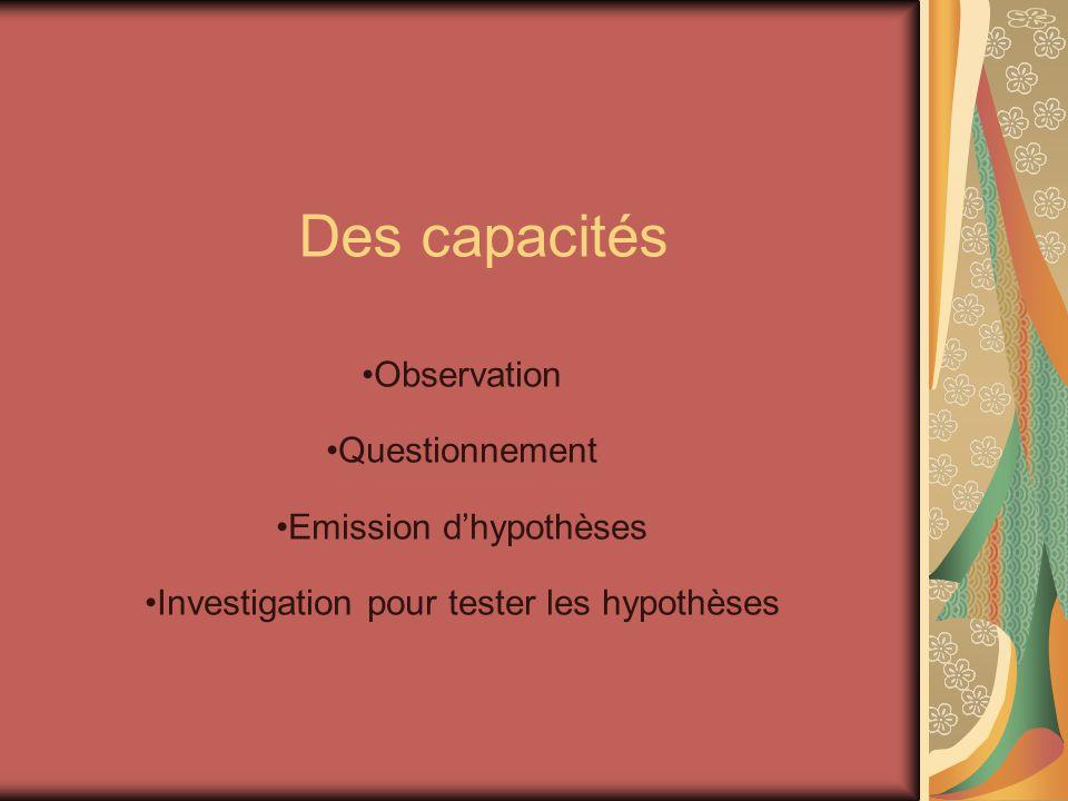 Des capacités Observation Questionnement Emission dhypothèses Investigation pour tester les hypothèses