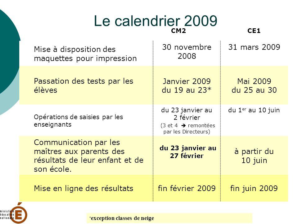 Le calendrier 2009 CM2CE1 Mise à disposition des maquettes pour impression 30 novembre 2008 31 mars 2009 Passation des tests par les élèves Janvier 20