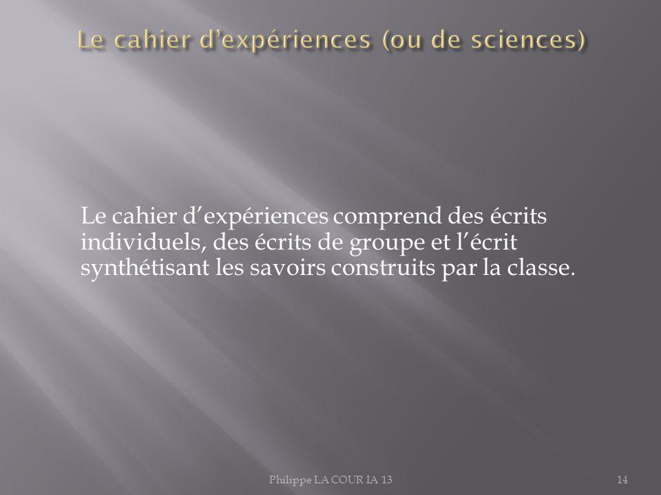Le cahier dexpériences comprend des écrits individuels, des écrits de groupe et lécrit synthétisant les savoirs construits par la classe. Philippe LA