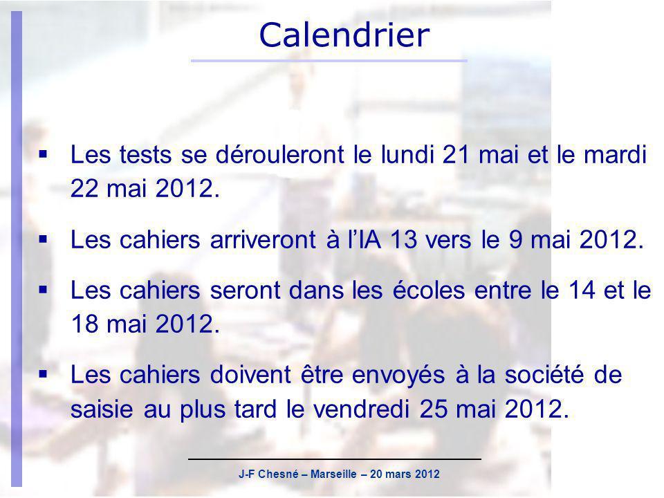 J-F Chesné – Marseille – 20 mars 2012 Actualisation des listes délèves Rappel : tous les cahiers sont préidentifiés.