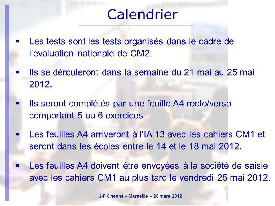 J-F Chesné – Marseille – 20 mars 2012 Actualisation des listes délèves Les cahiers CM2 sont nominatifs, mais ne sont pas préidentifiés.