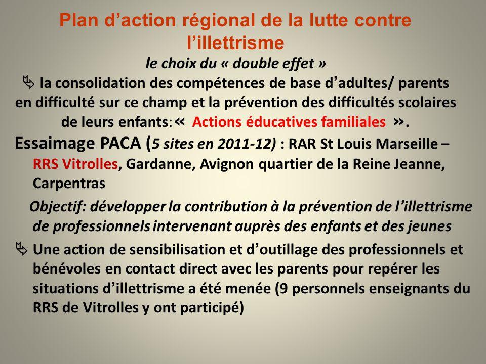 Plan daction régional de la lutte contre lillettrisme l e choix du « double effet » la consolidation des compétences de base dadultes/ parents en diff