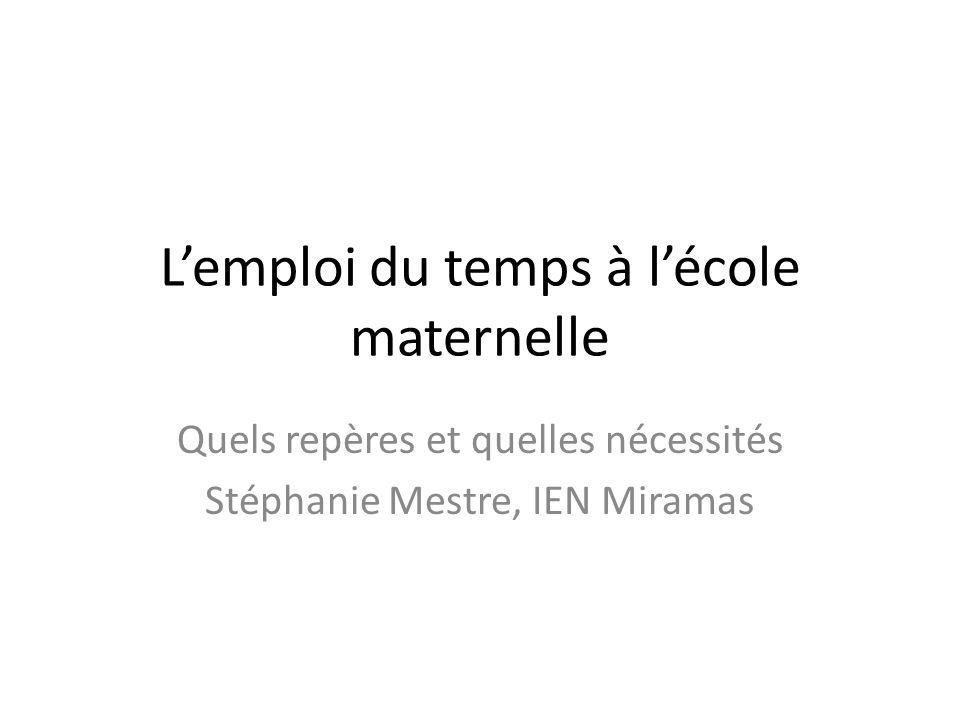 Lemploi du temps à lécole maternelle Quels repères et quelles nécessités Stéphanie Mestre, IEN Miramas