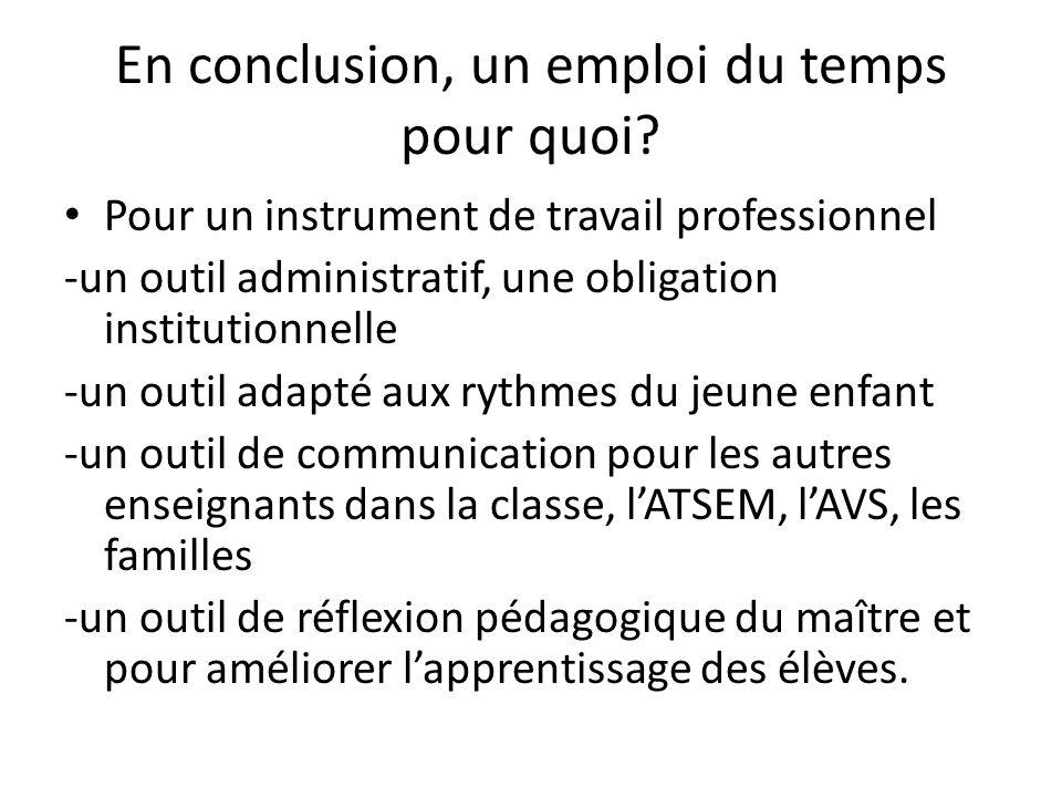 En conclusion, un emploi du temps pour quoi? Pour un instrument de travail professionnel -un outil administratif, une obligation institutionnelle -un