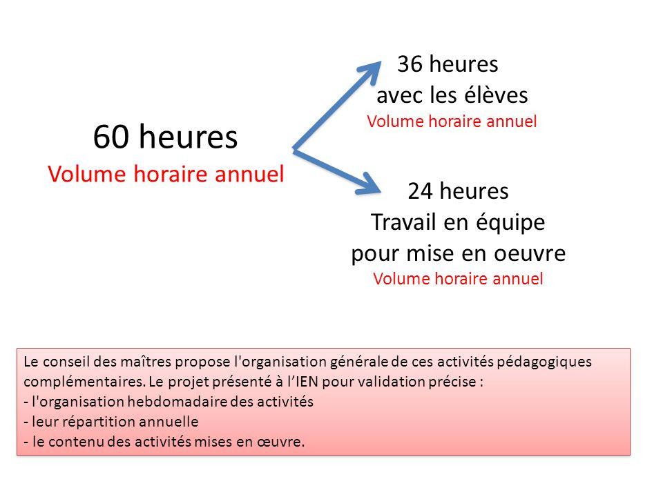60 heures Volume horaire annuel Le conseil des maîtres propose l'organisation générale de ces activités pédagogiques complémentaires. Le projet présen