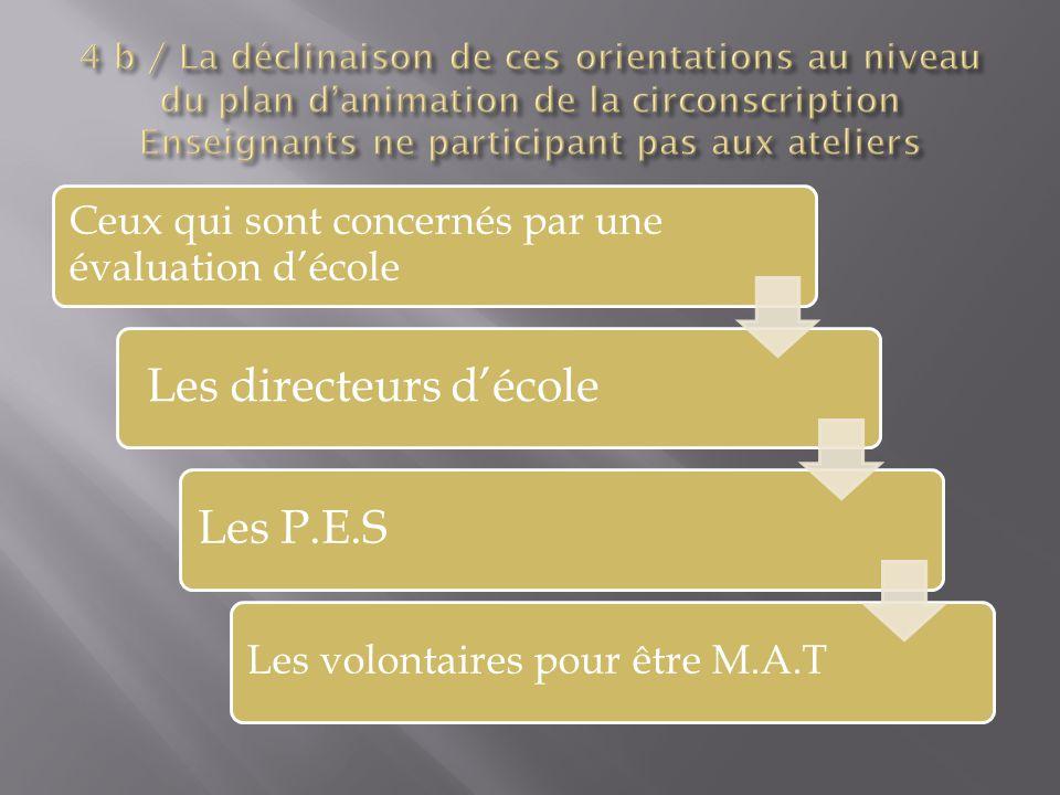 Ceux qui sont concernés par une évaluation décole Les directeurs décoleLes P.E.S Les volontaires pour être M.A.T