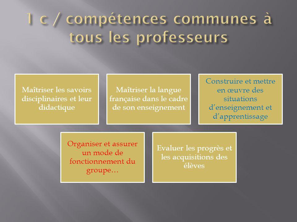 Maîtriser les savoirs disciplinaires et leur didactique Maîtriser la langue française dans le cadre de son enseignement Construire et mettre en œuvre