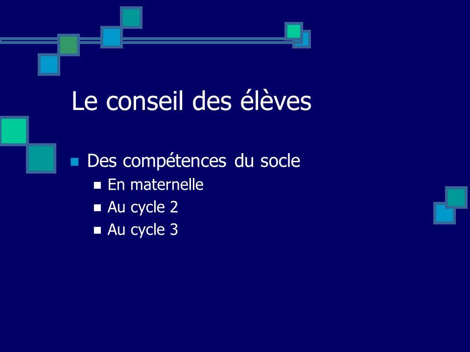 Le conseil des élèves Des compétences du socle En maternelle Au cycle 2 Au cycle 3