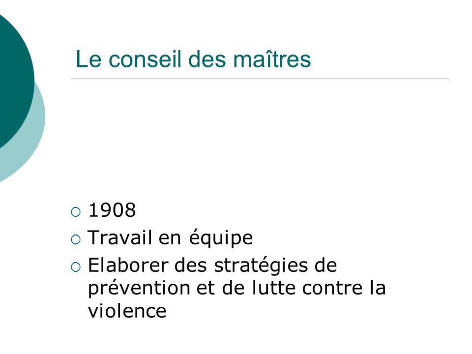 Le conseil des maîtres 1908 Travail en équipe Elaborer des stratégies de prévention et de lutte contre la violence