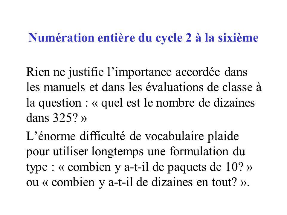 Rien ne justifie limportance accordée dans les manuels et dans les évaluations de classe à la question : « quel est le nombre de dizaines dans 325? »
