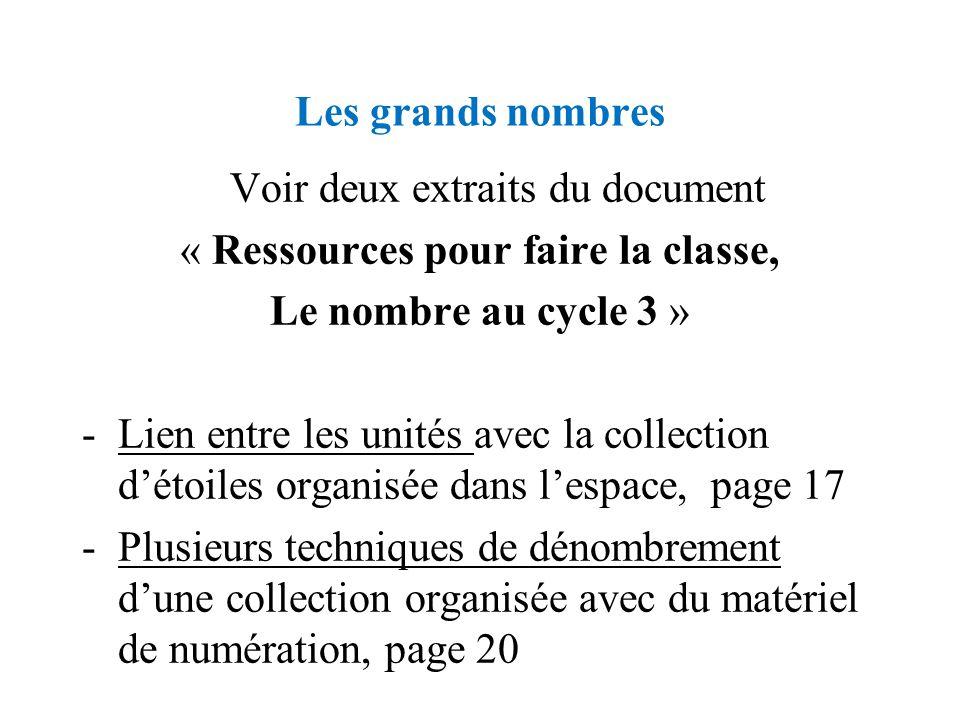Les grands nombres Voir deux extraits du document « Ressources pour faire la classe, Le nombre au cycle 3 » -Lien entre les unités avec la collection