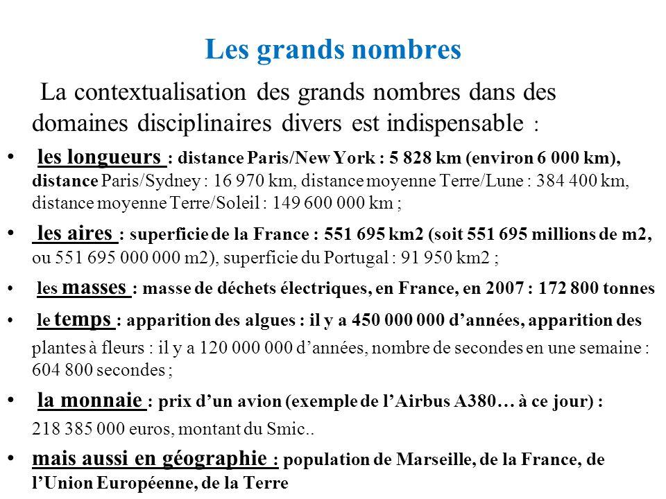 Les grands nombres La contextualisation des grands nombres dans des domaines disciplinaires divers est indispensable : les longueurs : distance Paris/
