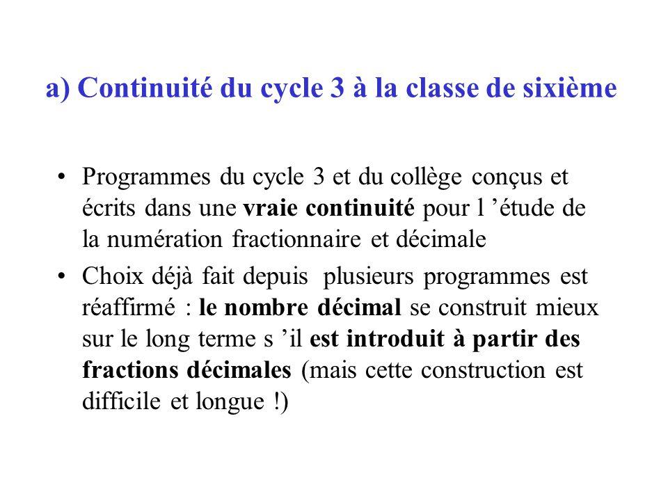 a) Continuité du cycle 3 à la classe de sixième Programmes du cycle 3 et du collège conçus et écrits dans une vraie continuité pour l étude de la numé