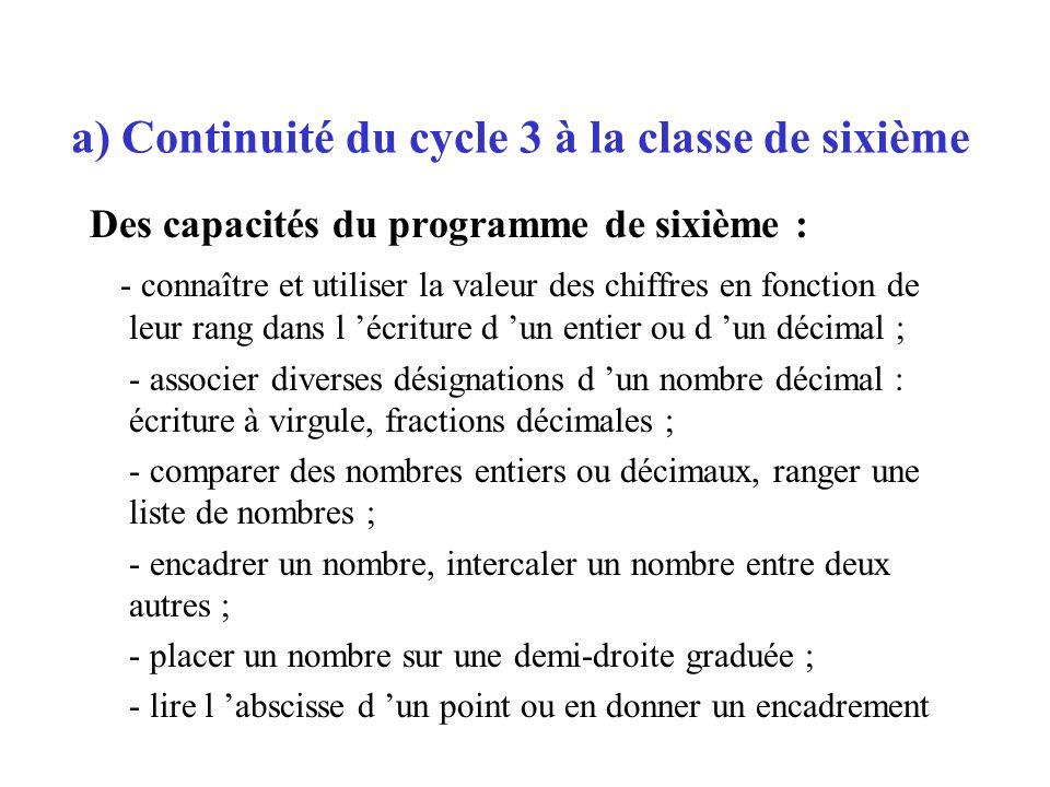 Des capacités du programme de sixième : - connaître et utiliser la valeur des chiffres en fonction de leur rang dans l écriture d un entier ou d un dé