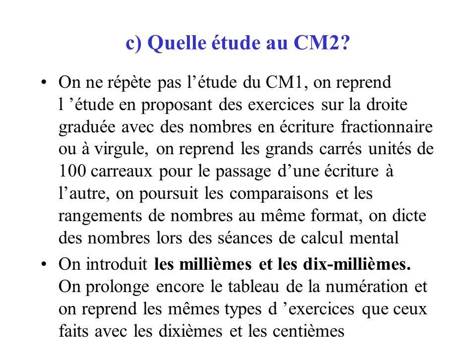 c) Quelle étude au CM2? On ne répète pas létude du CM1, on reprend l étude en proposant des exercices sur la droite graduée avec des nombres en écritu