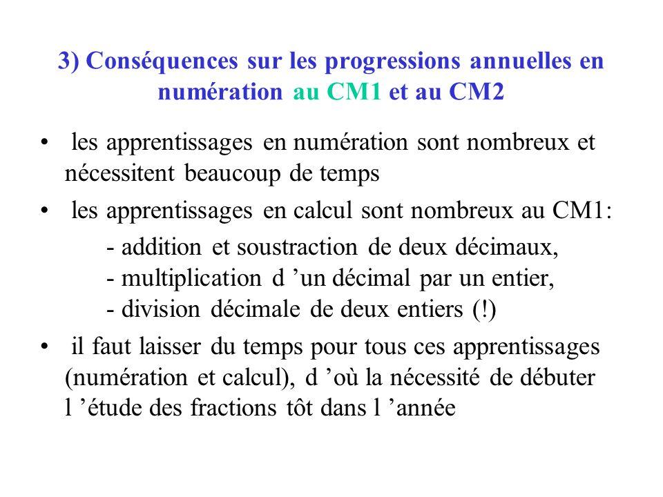 3) Conséquences sur les progressions annuelles en numération au CM1 et au CM2 les apprentissages en numération sont nombreux et nécessitent beaucoup d