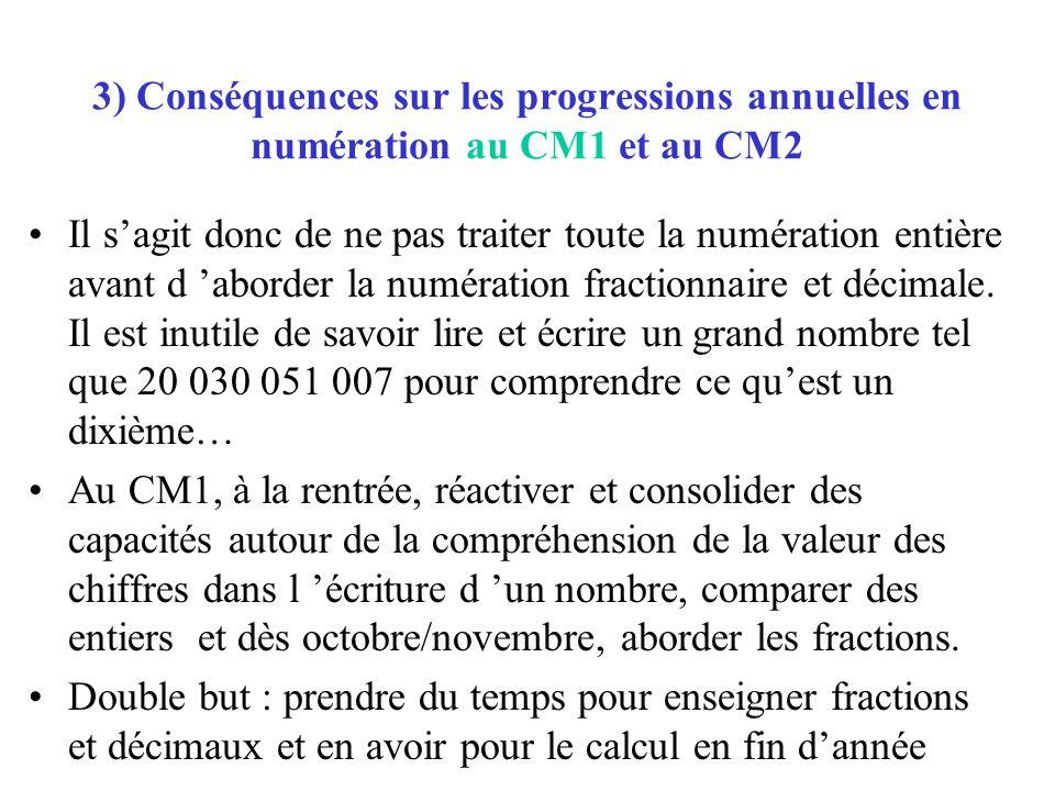 3) Conséquences sur les progressions annuelles en numération au CM1 et au CM2 Il sagit donc de ne pas traiter toute la numération entière avant d abor