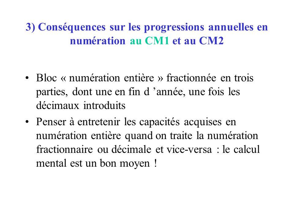 3) Conséquences sur les progressions annuelles en numération au CM1 et au CM2 Bloc « numération entière » fractionnée en trois parties, dont une en fi