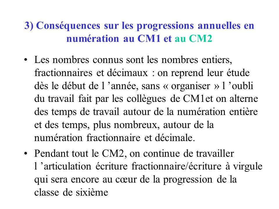 3) Conséquences sur les progressions annuelles en numération au CM1 et au CM2 Les nombres connus sont les nombres entiers, fractionnaires et décimaux