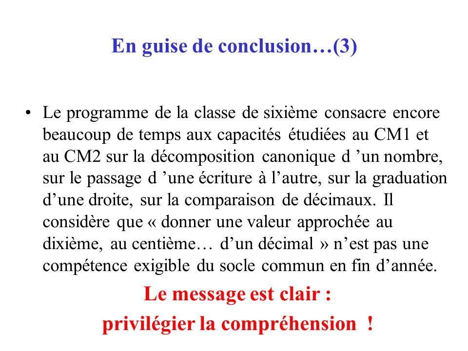 En guise de conclusion…(3) Le programme de la classe de sixième consacre encore beaucoup de temps aux capacités étudiées au CM1 et au CM2 sur la décom