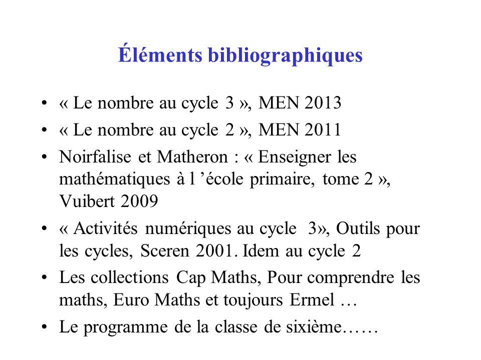 Éléments bibliographiques « Le nombre au cycle 3 », MEN 2013 « Le nombre au cycle 2 », MEN 2011 Noirfalise et Matheron : « Enseigner les mathématiques