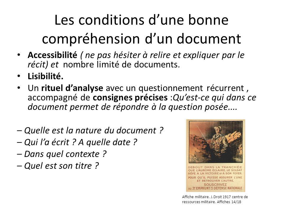 Les conditions dune bonne compréhension dun document Accessibilité ( ne pas hésiter à relire et expliquer par le récit) et nombre limité de documents.