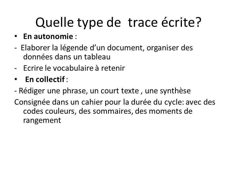 Quelle type de trace écrite? En autonomie : - Elaborer la légende dun document, organiser des données dans un tableau -Ecrire le vocabulaire à retenir