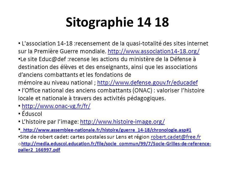 Sitographie 14 18 L'association 14-18 :recensement de la quasi-totalité des sites internet sur la Première Guerre mondiale. http://www.association14-1