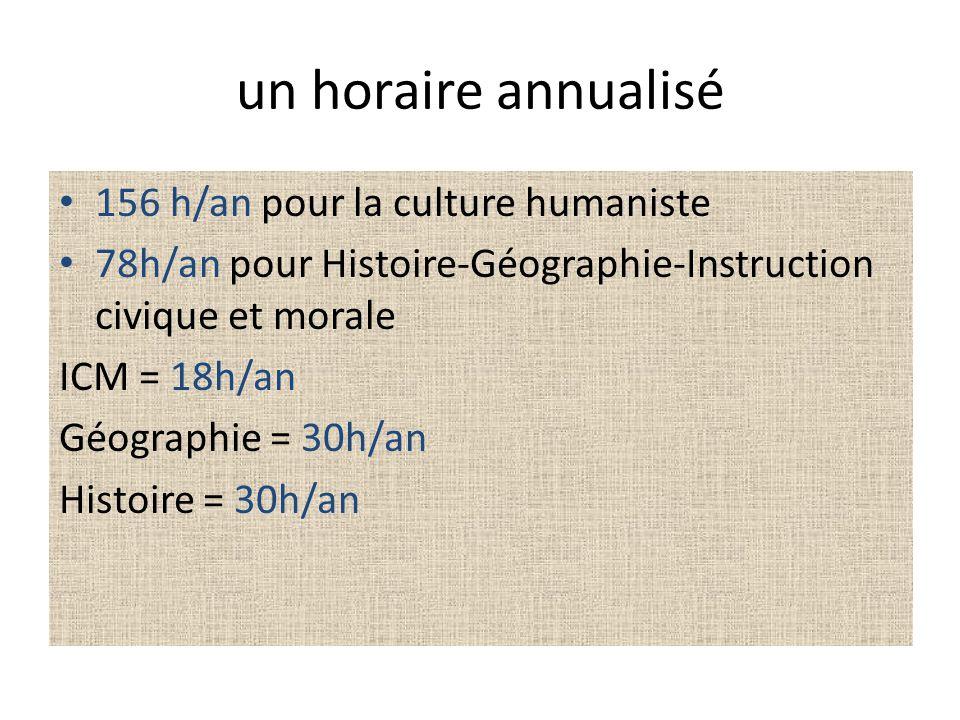 un horaire annualisé 156 h/an pour la culture humaniste 78h/an pour Histoire-Géographie-Instruction civique et morale ICM = 18h/an Géographie = 30h/an
