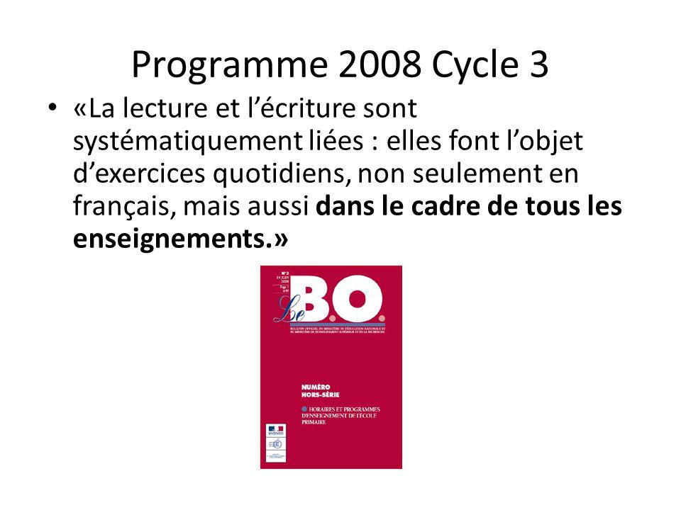 Programme 2008 Cycle 3 «La lecture et lécriture sont systématiquement liées : elles font lobjet dexercices quotidiens, non seulement en français, mais