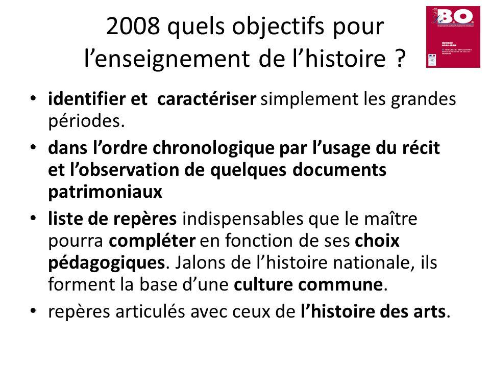 2008 quels objectifs pour lenseignement de lhistoire ? identifier et caractériser simplement les grandes périodes. dans lordre chronologique par lusag
