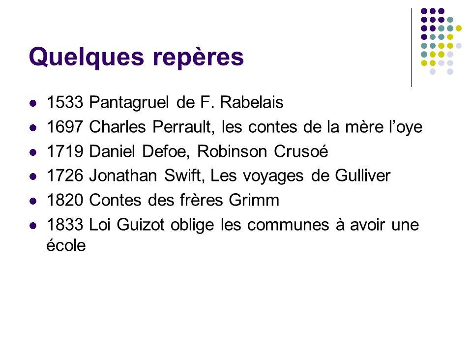Quelques repères 1533 Pantagruel de F. Rabelais 1697 Charles Perrault, les contes de la mère loye 1719 Daniel Defoe, Robinson Crusoé 1726 Jonathan Swi
