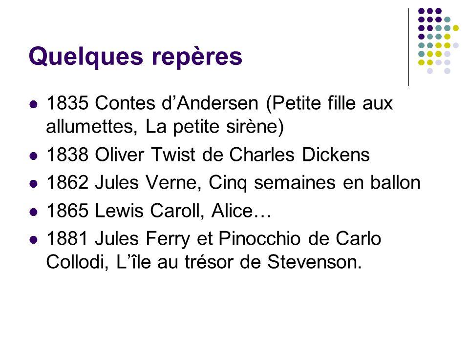 Quelques repères 1835 Contes dAndersen (Petite fille aux allumettes, La petite sirène) 1838 Oliver Twist de Charles Dickens 1862 Jules Verne, Cinq sem