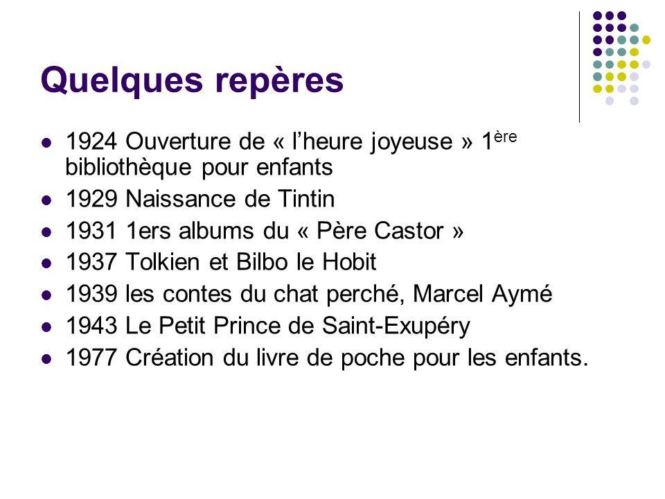 Quelques repères 1924 Ouverture de « lheure joyeuse » 1 ère bibliothèque pour enfants 1929 Naissance de Tintin 1931 1ers albums du « Père Castor » 193
