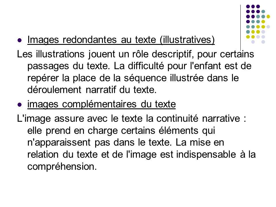 Images redondantes au texte (illustratives) Les illustrations jouent un rôle descriptif, pour certains passages du texte. La difficulté pour l'enfant