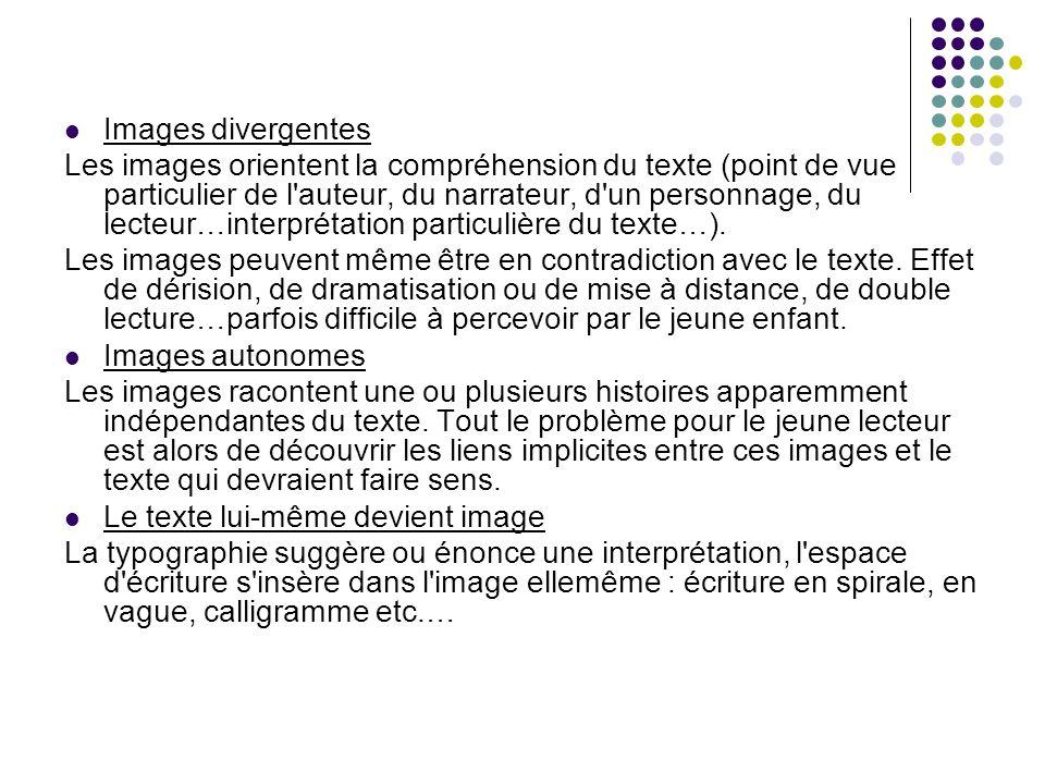 Images divergentes Les images orientent la compréhension du texte (point de vue particulier de l'auteur, du narrateur, d'un personnage, du lecteur…int