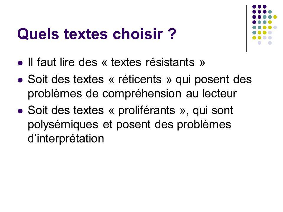 Quels textes choisir ? Il faut lire des « textes résistants » Soit des textes « réticents » qui posent des problèmes de compréhension au lecteur Soit